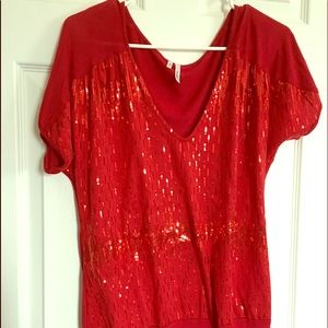 Red sequin band top